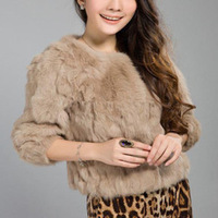 2013 free shipping Classic 100% Real Genuine Rabbit Fur short  jacket Womens retro Celeb BASIC coat  Winter NEW ladys Black