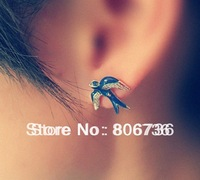 Min Order$15 Free Shipping  Fashion Jewelry Blue Swallow Earring Classic Stud Earring For Women Female's Swallow Stud Earring