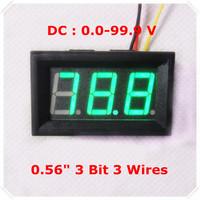 """Green  LED Display Color  0.56"""" Digital Voltmeter DC:0-100V Three wires 3 bit car Voltage Panel Meter [ 4 pcs / lot]"""