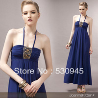 Roman Holiday Wipes Bosom Hang Long Neck Dress Sleeveless & Backless Sexy Stylish And Spirited For Dress Party  Evening Elegant