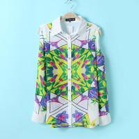 Women Vintage Prints Off-shoulder Chiffon Shirts Ladies Fashion Blouse, SW1076-G02