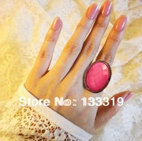 Retro pink color ellipse rings Fashion jewelry  Min.order is $5 (mix order)free shipping