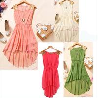 2014 New Hot Women Dress Chiffon Sleeveless Irregular Paillette Shoulder Dress 5 Colors For Choice