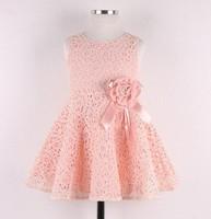 Free Shipping! 2014 Summer New girls dress,bow princess dress,Children lace dress,kids noble  fairy dress high quality 5pcs/lot