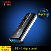 Ssk idea USB 3.0 High speed flash drive 100% 128G 64GB 32GB 16GB usb flash drives pen drive retractable type Free Shipping