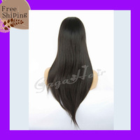 Free ship High Density Brazilian Virgin Straight Human Hair Front Lace Wigs for Black Women with Baby Hair and Natural Hairline