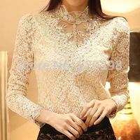 New 2014 Spring  High quality Women Crochet Blouse Lace Sheer Shirs Tops For Women Clothing Vestidos Blusas Femininas Blouses