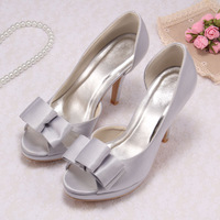 Customize Silver Satin Pumps Bridal High Heels Summer Shoes with Butterfly-knot Free Shipping Dropship