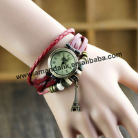 75pcs/lot famous brand watch , Eiffel pendant leather lady watch,vintage style wristwatch,