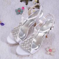 Custom Handmade Brand Ladies Shoes Sandals 2014 High Heels Rhinestone Free Shipping Dropship