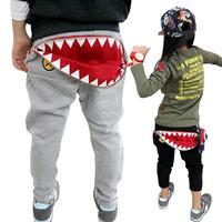 Boys Kids girls latest autumn winter paragraph shark zipper pocket pants baby trousers Sz 3-8 Years