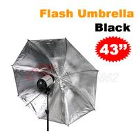 "Free shipping 2pcs 43"" Studio Flash Light Reflector Black Silver Umbrella"