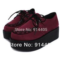 Hot Sale HARAJUKU Creepers Flats Spring Autumn Women's New Fashion Punk Knit Velvet Round Toe Lace-Up Platform Shoes