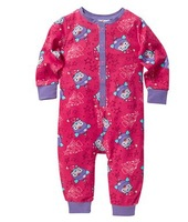 Free shipping children kids girl Giggle + Hoot Onesie  romper long sleeved pajamas sleepingwear