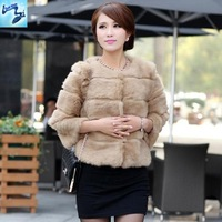 coat winter women 2013 genuine rabbit fur coat rabbit fur coat ladies cashmere streaks quarter Sleeves bolero woman clothes 494