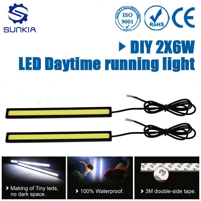 2pcs/Lot COB LED Lights DRL Daytime Running Light Auto Lamp For Universal Car Wholesales Free Shipping(China (Mainland))