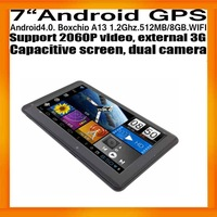 """7""""Capacitive Android4.0 GPS Navigator tablet Dual Lens AVIN Boxchips A13 2060P Video External 3G 512MB/8GB FMT WIFI"""