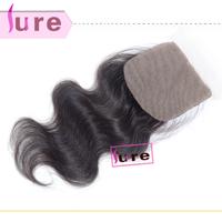 Brazilian Virgin Hair  Cheap Silk Base body wave lace closure 4*4 ,bleached knots free part closure  DHL free shipping