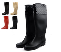 Free shipping 2013 fashion exquisite dimond plaid thin tall rainboots riding female gumboots waterproof boots knee-high boots