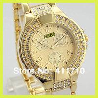 2013 Hot Luxury Famous Brand Beling Rhinestone Arabic Number Dial Gold Silver Black Steel Women's Wrist Watch /w LOGO