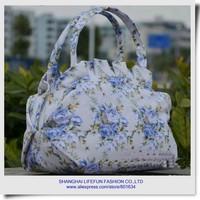 2014 new women canvas printing shoulder tote bag hobos shopping bag kids evening bag girls handbag LF06334b 06530