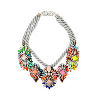 Famous design silver rope Luxury crystal chokers shourouk necklaces fashion statement vintage necklace jewelry  2014 for women