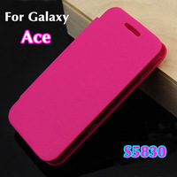 Flip leather remove back cover case original battery housing case screen protector for Samsung Galaxy Ace S5830 5830