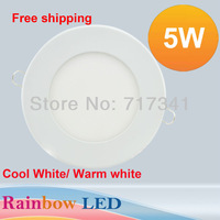 5pcs/Lot 5W Ultra thin LED Panel Light 500LM Round SMD2835 LED Ceiling Wall Light Lamp Recessed Down light Pure White led bulb