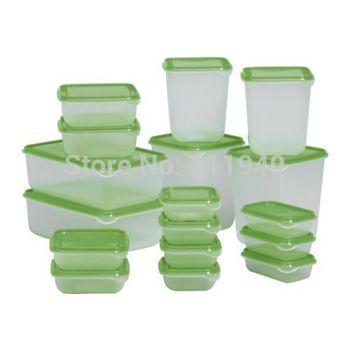 17 pieces/set plastic food storage box, crisper, kitchen food container