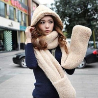 2014Special Korean Women winter scarf lovely double-thick wool scarves with hats and gloves Black/White/Yellow/Blue/Red/Khaki