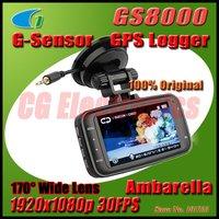 100% Original GS8000 Ambarella Chipset H.264 Car DVR w/GPS/G-Sensor Full HD1920x1080p 30FPS/2.7' TFT LCD/HDMI/170 degrees lens