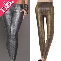 2013 New Autumn style Sexy fashion Metallic Snake Skin Legging Gold and silver Women's Faux Leather Snake Patter Stylish Pants