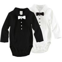Retail 1pc  Baby Rompers (70 80 90 100) Baby Boy's Bowtie Gentleman Modelling Romper 100% Cotton Infant Rompers Baby Suit R110