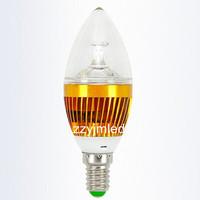 1W Warm White Light Cree LED E14 Downlight Crystal Candle Lamp bulb base 85-265V