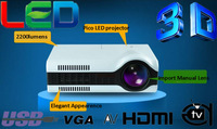 Cheapest !! 2200lumens portable LED 3D home theater projector LCD video game digital projector proyector beamer Free Shipping
