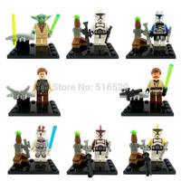 Star Wars Minifigures 8pcs/lot Building Blocks Sets Model Figures Bricks Toys Yoda Han Solo Obi Wan