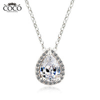 AAA+ Zircon Water Drop Fashion Necklace Wholesale 18k Gold Plated CZ Damond  Women Jewelry CN004