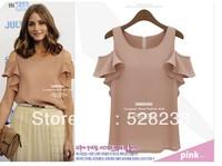 2013 woman solid all the shoulder fashion sleevess chifflon shirt