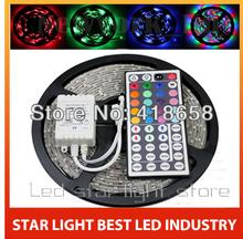 Superbright 5M Flexible RGB LED Light Strip 16ft 5050 SMD 500cm 300 LEDs 60leds/Meter Waterproof + 44 Key IR remote Controller(China (Mainland))