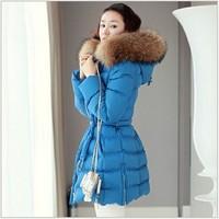 Plus Size S-XXXXL Free Shipping 2014 New Korean Fashion Winter Women's Hooded Coat With Fur Collar Down Jacket Warm Outerwear