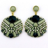 2013 Floating Glamor Fashion Circular Geometric Pattern Rhinestone Resin DROP Earrings Min order 10$ Free Shipping
