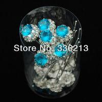 Turquoise Resin Rhinestone Hair Ornament Pins, Hair Accessories