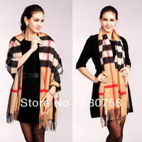 Free Shipping Winter 2013 Latest Fashion Unisex Lamb Cashmere Thick Long Scarves High-grade Plaid Shawls 5 colors 1051 - 1060