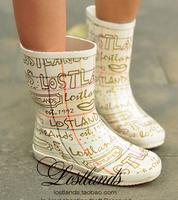 Botas Femininas 2014 Fashion Gold Doodle Women Rain Boots Mid-Calf Rainboots Rubber Boots Galocha Shoes Woman