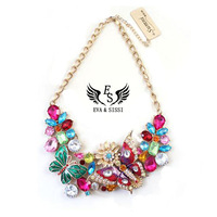 Free shipping NEW Fashion Multicolor Shining Rhinestone Crystal Butterfly Flower Choker Chain Necklace ES-020