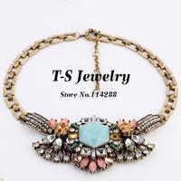 Colares Femininos Trendy 2014 Promotion Necklace Luxury Jewelry New Fashion Crystal Charm Flower Choker Women Brand Statement