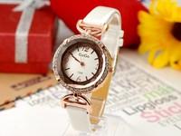 100pcs/lot DhL Free Shipping Fashion Round Diamond Genuine Leather Band Vintage Antique Ladies Womens Bracelet Wrist Watches