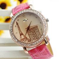 3Color 100pcs/lot Women rhinestone watches Analog Eiffel Tower Quartz relojes PU Leather ladies Fahshion watch DHL Free Shipping