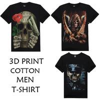 2014 New Fashion mens 3D Black Short Sleeve O Neck T shirt Skull Series 100% Cotton 3d Printed T-shirts for man 3 style M-XXXL