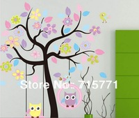 Large wall stickers cute cartoon owl blooms dream nursery children's room bedroom wallpaper Removable wall sticker